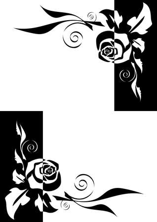 Illustration of abstract black and white roses corners 矢量图像