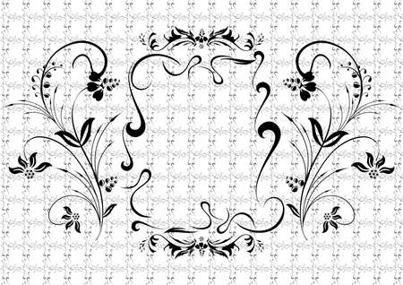 Illustration of abstract black floral ornament with background Stock Vector - 15338290