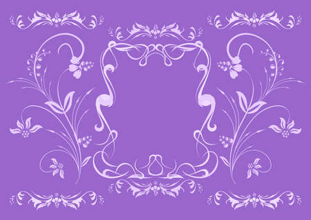 Illustration of abstract lilac floral ornament Vector