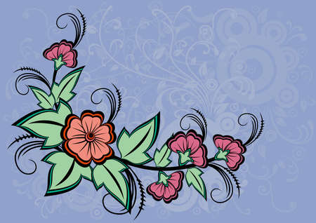 Illustration of abstract floral corner with background Vector