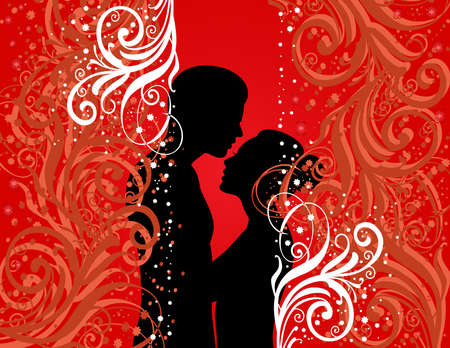 sexual couple: Illustration of boy and girl on colour background Illustration