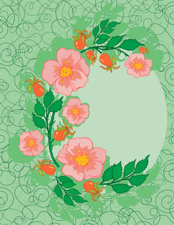 Illustration of abstract roses frame with background