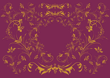 Illustration of golden floral ornament on lilac background  Stock Vector - 16096685