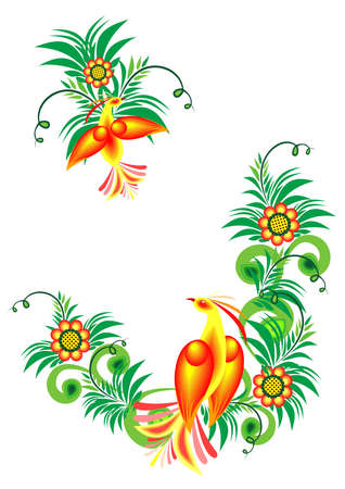 Illustration of abstract birds of paradise on floral branches  Vector