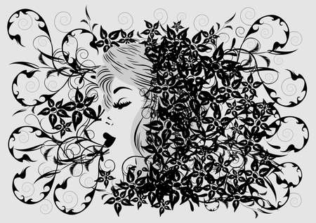 Illustration of woman s profile on floral background Stock Vector - 16096686