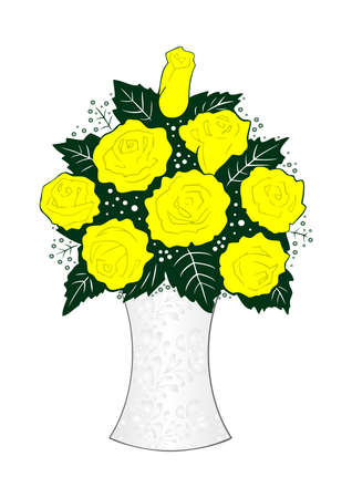 Illustration of yellow roses in vase  Stock Vector - 16096683