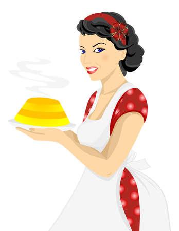 Illustration of beautiful woman posing with cake Illustration
