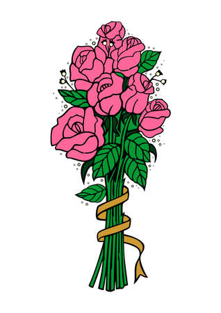 Illustration of bouquet of pink roses with ribbon Stock Vector - 17173570