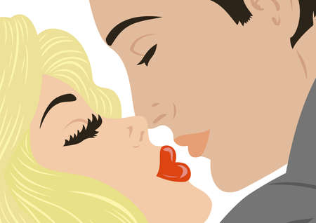 Illustration of kissing man and woman Illustration