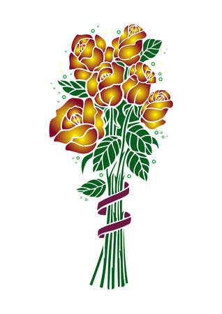 Illustration of bouquet of golden roses with ribbon Vector