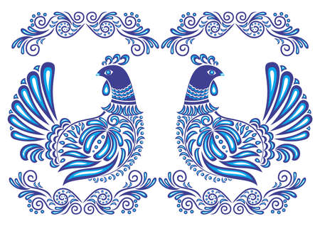 Illustration of abstract gzhel birds Illustration