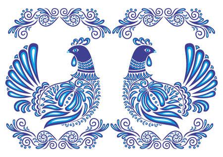gzhel: Illustration of abstract gzhel birds Illustration