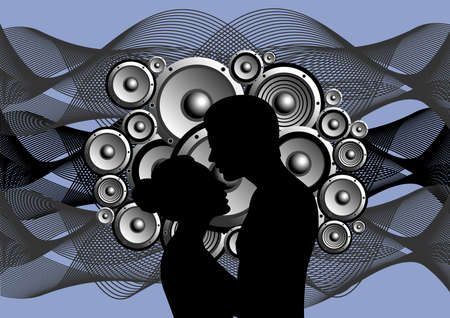 Illustration of boy and girl with abstract music background