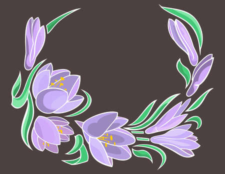 Illustration of abstract crocuses frame with grey background