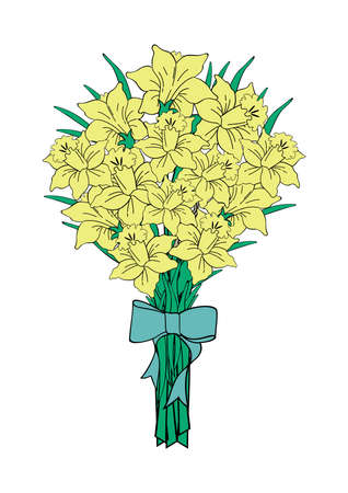 Illustration of bouquet of yellow narcissi