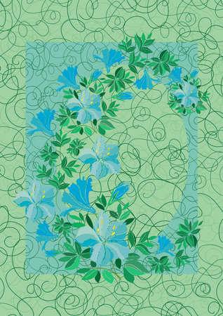 laurier rose: Illustration du cadre de fleurs bleu abstraite avec fond Illustration