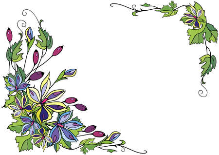 Illustration of frame from abstract flowers and berries Illustration