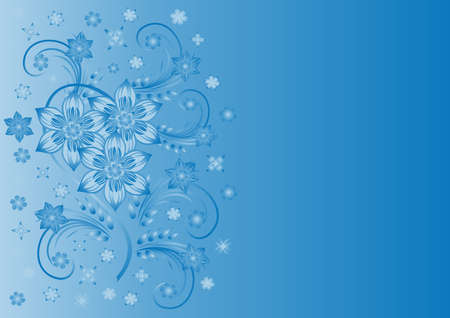 liane: Illustration of abstract blue flowers with background  Illustration