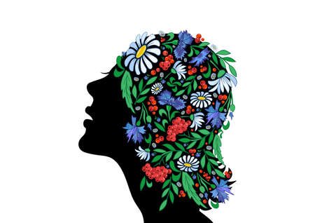 Illustration of female head with abstract flowers