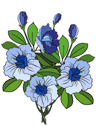Illustration of abstract blue flowers branch