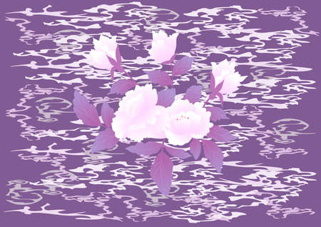 Illustration of abstract roses with stained background