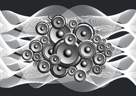 Illustration of abstract loudspeakers with music waves
