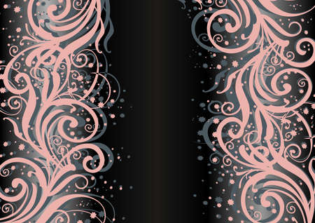liane: Illustration of abstract floral pink and grey ornament on dark background