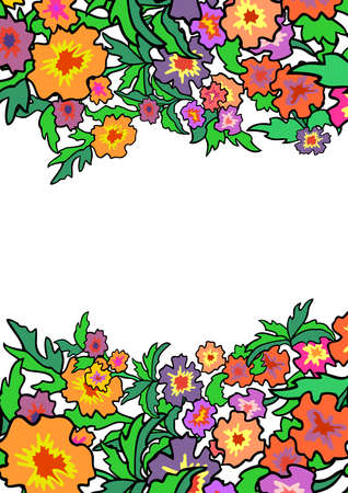Illustration of abstract flowers border Illustration