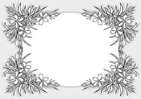 Illustration of abstract flowers frame Vector