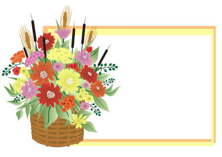 Illustration of basket with abstract flowers and frame Vector