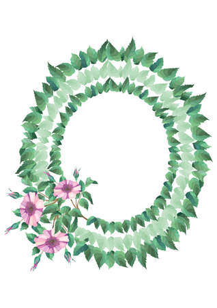 Illustration of oval frame from abstract flowers