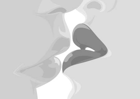 lipstick kiss: Illustration of kissing man and woman Illustration