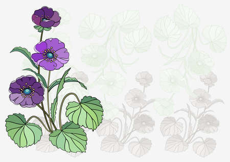 Illustration of abstract violet flowers with background Illustration