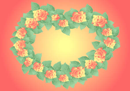 Illustration of abstract roses formed as wreath with background