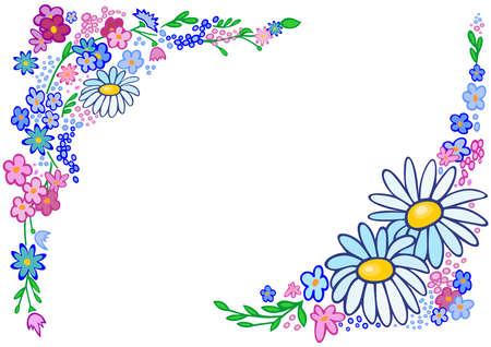 Illustration du cadre de fleurs abstraites