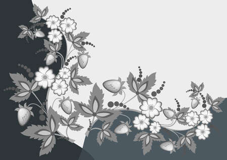 Illustration of abstract flowers and strawberries with background Illustration