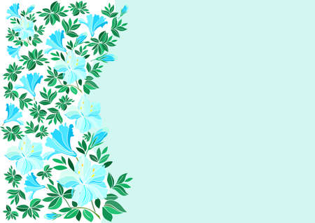 oleander: Illustration of abstract blue flowers with background