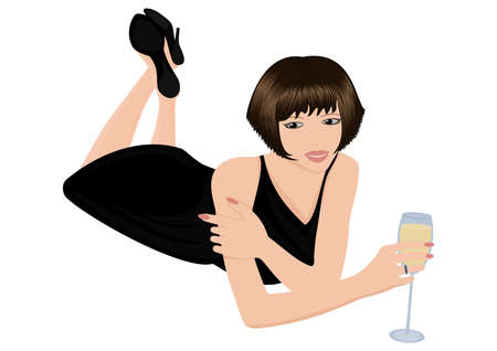 Illustration of woman in black dress with glass of sparkling wine Illustration
