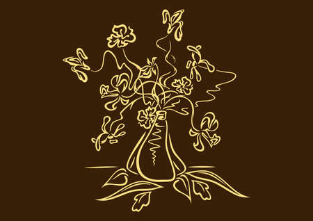 fragrant bouquet: Illustration of abstract flowers in vase in yellow and brown colours