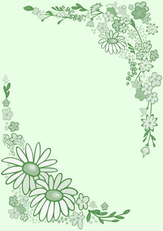 Illustration of frame from abstract flowers in green colours