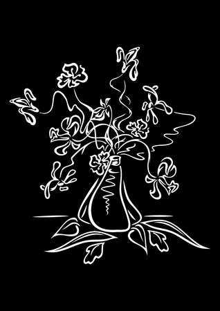 Illustration of abstract flowers in vase in white and black colours