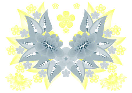 Illustration of abstract floral background in grey and yellow colours