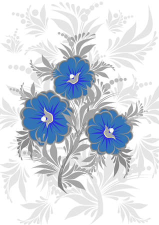 Illustration of abstract blue floral branch with grey background