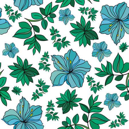 laurier rose: Illustration de fond sans soudure r�sum� floral isol�