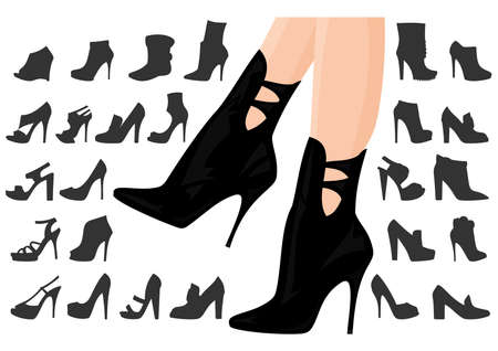 Illustration of female legs in boots with background  Vector