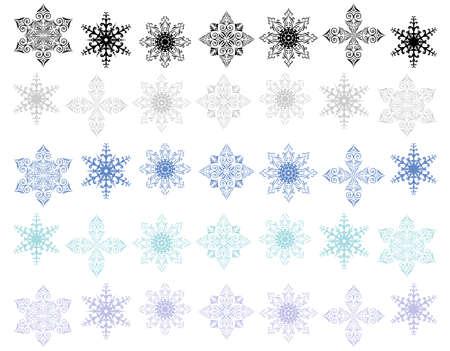 Illustration of snowflake shapes set Vector