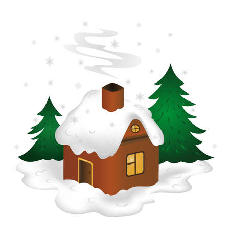 snowcovered: Illustration of winter scenery with snow-covered house