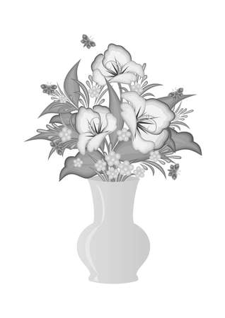 Illustration of abstract flowers in vase in grey colours Illustration