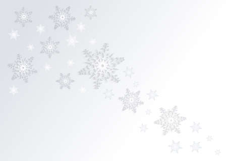 Illustration of abstract Christmas background in white and grey colours with snowflakes.