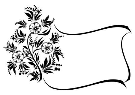Illustration of frame from abstract flowers in black and white colours